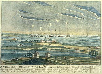 Battle of Baltimore - Bombardment of Fort McHenry by the British. Engraved by John Bower