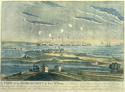 An artist's rendering of the bombardment at Fort McHenry during the Battle of Baltimore. Watching the bombardment from a truce ship, Francis Scott Key was inspired to write the four-stanza poem that later became, The Star-Spangled Banner. Ft. Henry bombardement 1814.jpg