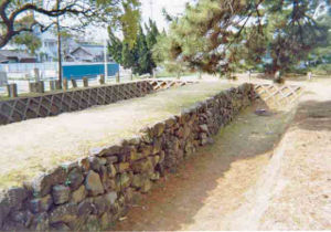 Stone barrier in Fukuoka