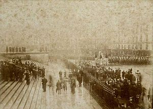 Exile and death of Pedro II of Brazil - Pedro II's coffin leaving the Church of Madeleine, 1891.