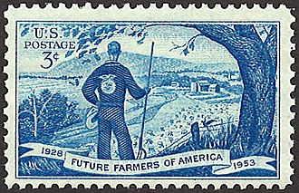 National FFA Organization - Commemorative 25th anniversary Future Farmers of America postage stamp issued on October 13, 1953