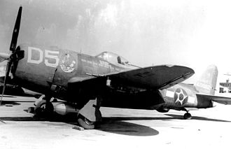 "Brazilian Air Force - 1º GAC P-47s carried the ""Senta a Pua!"" emblem as nose art along with the national insignia of Brazil."