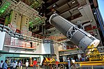 GSLV F11- CUS15 upper stage being hoisted.jpg