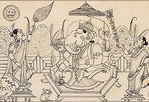 Ink drawing of Ganesha under an umbrella, with...