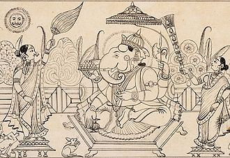 Ink - Ink drawing of Ganesha under an umbrella (early 19th century). Ink, called masi, an admixture of several chemical components, has been used in India since at least the 4th century BC. The practice of writing with ink and a sharp pointed needle was common in early South India. Several Jain sutras in India were compiled in ink.