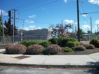 Patchogue (LIRR station) - Flower garden that was once the site of the PD Tower.