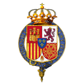 Garter-encircled Coat of Arms of Juan Carlos I, King of Spain.png