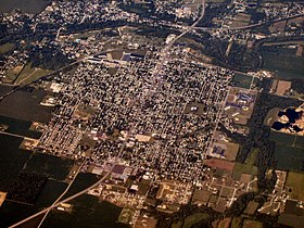 Aerial view of Gas City facing southwest