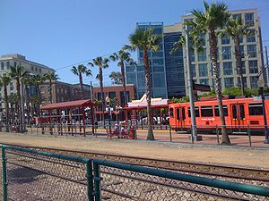 Gaslamp Quarter station - Gaslamp Quarter Trolley Station as seen from the convention center side of the heavy rail track.