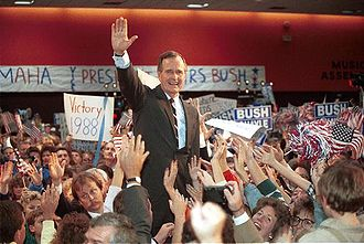 1988 United States presidential election in Nebraska - Bush's largely socially conservative rhetoric garnered him much support among social-conservatives nationwide. Seen here at campaign rally in Omaha, Nebraska.