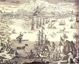 Thirteenth Siege of Gibraltar - Image: German print of the 1727 Gibraltar Siege