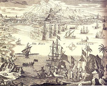 Contemporary engraving of the Siege of Gibraltar in 1727