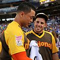 Giancarlo Stanton chats with Jose Fernandez during the T-Mobile Home Run Derby. (28470210142).jpg