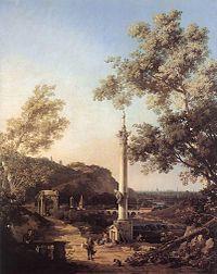 Giovanni Antonio Canal, il Canaletto - Capriccio - River Landscape with a Column - WGA03956.jpg