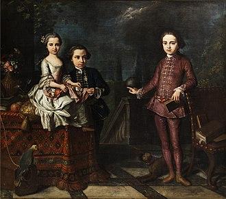 Giuseppe Bonito - Image: Giuseppe Bonito (attr) Gruppenportrait von drei adeligen Kindern