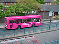 Go North East bus 504 Dennis Dart MPD Plaxton X504 WRG Pink Elephant livery in Wallsend Newcastle upon Tyne 9 May 2009 pic 3.jpg