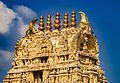 Gopuram - View of the top portion. Chennakesava Temple , Belur 01.jpg