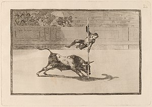 Unfortunate Events in the Front Seats of the Ring of Madrid, and the Death of the Mayor of Torrejón - Goya: The Speed and Daring of Juanito Apiñani in the Ring of Madrid 1815–16 Etching and aquatint