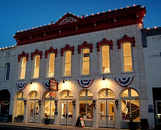 Granbury, Texas - The restored Granbury Opera House adorned with patriotic decorations during the 2014 Fourth of July festival