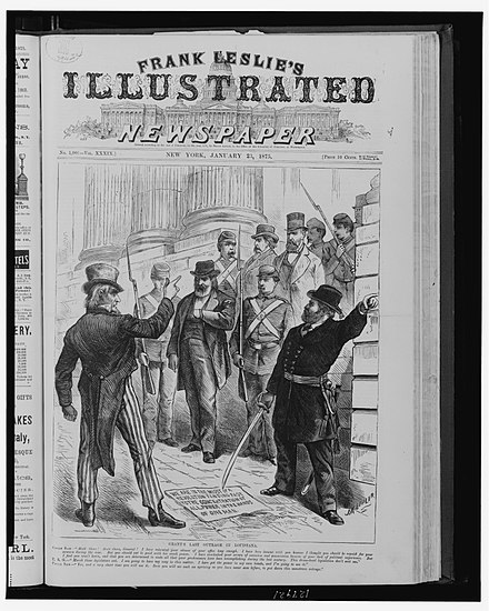 Grant's last outrage in Louisiana in Frank Leslie's illustrated newspaper, as with nation tired of Reconstruction he remained the lone President protecting African-American civil rights, January 23, 1875 Grant's last outrage in Louisiana.jpg