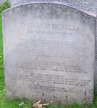Rosewell's grave in Bunhill Fields. Grave of Thomas Rosewell, Bunhill Fields.jpg