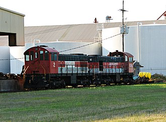 Great River Railroad - GTR's two locomotives at the Port of Rosedale