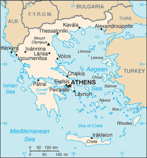 An enlargeable basic map of Greece