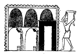 Grain trade - Ancient Egyptian art depicting a worker filling a grain silo