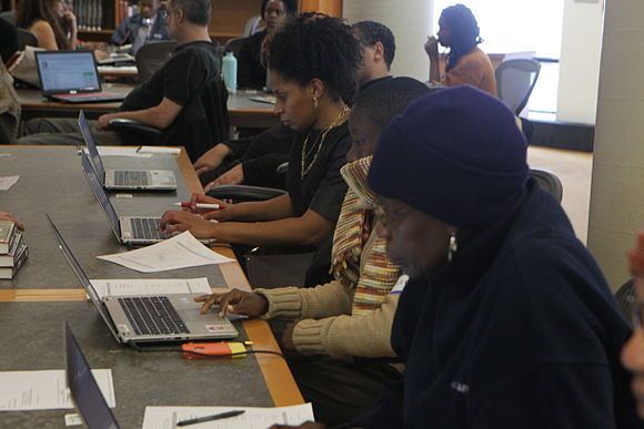 Group editing Wikipedia at the Schomburg Center in New York City