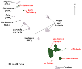 Collectivity of Saint Martin - Map showing the former constituent parts of the Guadeloupe region/department among the Leeward Islands, including Saint-Martin, before February 2007.