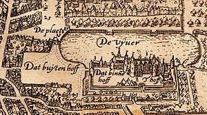 Binnenhof - The Binnenhof and Hofvijver on a map of The Hague from around 1600