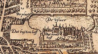 Binnenhof - The Binnenhof and Hofvijver on a map of The Hague from around 1600