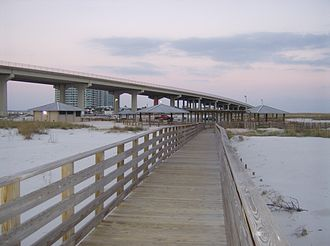 Perdido Pass - Gulf State Park at Perdido Pass, on Florida Point (view facing west).