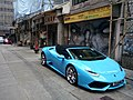 HK 上環 Sheung Wan 太平山街 Tai Ping Shan Street sidewalk carpark 林寶堅尼 Lamborghini blue side head Nov 2016 Lnv2 TH668 DAB.jpg