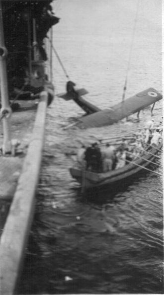 British campaign in the Baltic (1918–19) - A plane ditched alongside HMS Vindictive after returning from air raid, Baltic Sea, 1919