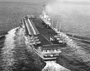 HMS Ark Royal (R09) - Ark in the late 1950s, before the port deck-edge lift was removed