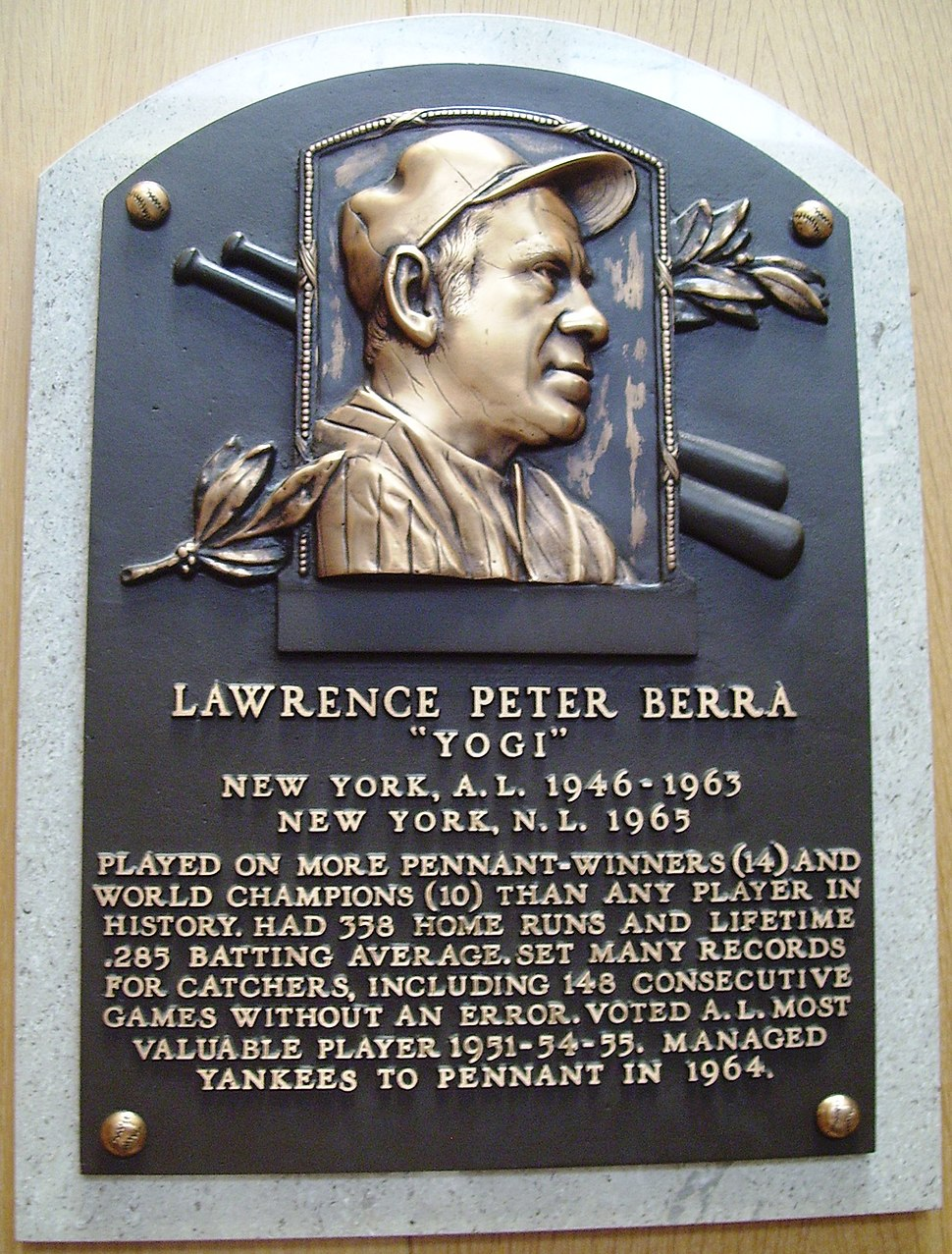 HOF Berra Yogi plaque
