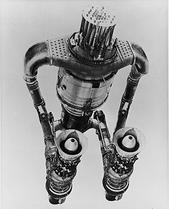 Nuclear propulsion - A picture of an Aircraft Nuclear Propulsion system, known as HTRE-3(Heat Transfer Reactor Experiment no. 3). The central EBR-1 based reactor took the place of chemical fuel combustion to heat the air. The reactor rapidly raised the temperature via an air heat exchanger and powered the dual J47 engines in a number of ground tests.