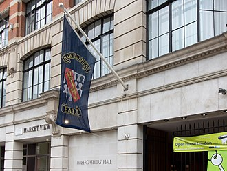 Worshipful Company of Haberdashers - Haberdashers' Hall and banner.