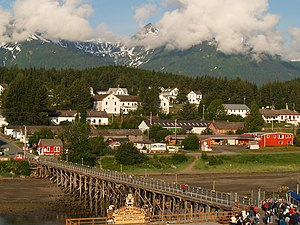 Haines, Alaska - Fort William H. Seward and dock as viewed from a docking boat