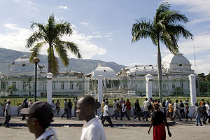 The Haitian National Palace shows heavy damage...