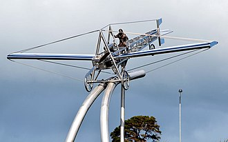 Harry Ferguson - A metal sculpture near the A1 road depicting Ferguson's first flight