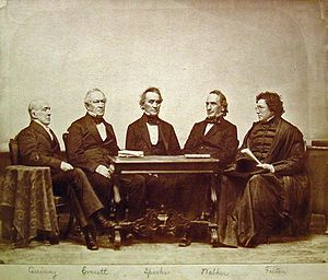 Jared Sparks - Five Harvard College/University Presidents sitting in order of when they served. Left-to-Right: Josiah Quincy III, Edward Everett, Jared Sparks, James Walker and Cornelius Conway Felton.