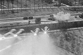 RP-3 - A gun camera picture of a rocket salvo, launched by a Hawker Typhoon towards railway wagons in a siding at Nordhorn, Germany (1945)