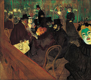 Fin de siècle - At the Moulin Rouge (1895), a painting by Henri Toulouse-Lautrec that captures the vibrant and decadent spirit of society during the fin de siècle