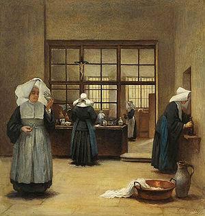 """Evangelical counsels - Henriette Browne """"Nonnen im klösterlichen Arbeitsraum"""""""