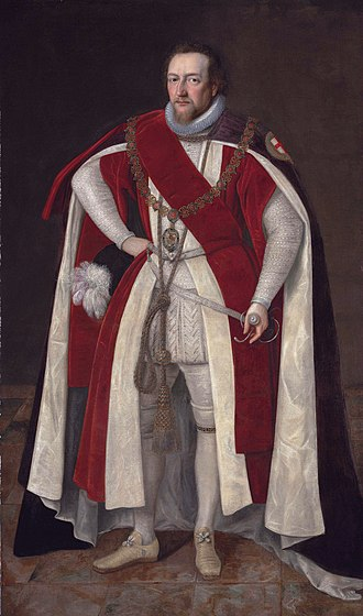 Henry Brooke, 11th Baron Cobham - Henry Brooke, 11th Baron Cobham (1564-1618/9) in Garter robes, wearing the chain of the Order of the Garter bearing the pendant of the Greater Saint George (Circle of Paul van Somer)