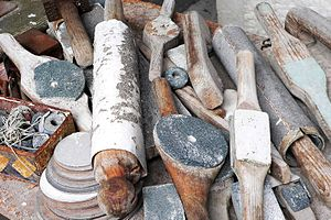 Barbara Hepworth Museum - Close up of Hepworth's tools, in the workshop