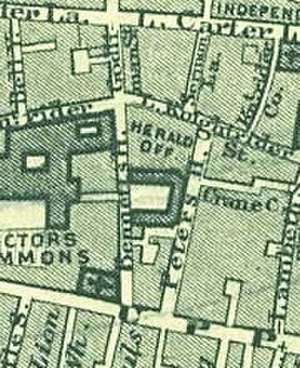 College of Arms - 1862 map showing layout of the College (labelled Herald Off.). Carter Lane and Upper Thames Street can be seen running parallel to the north and south of the College, respectively. St Benet Paul's Wharf the official church of the College since 1555 can be seen to the south west.