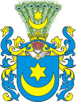 Leliwa. Polish noble coat of arms with crescent as a heraldic symbol.
